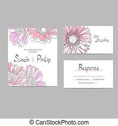 花, 結婚式, カード, 招待