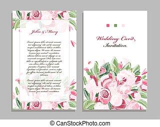 花, 結婚式, デザイン, カード, テンプレート