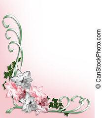 花, 結婚式, ボーダー, 招待