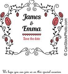 花, 結婚式, レッドカード, 招待