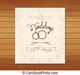 花, 結婚式, レトロ, 招待