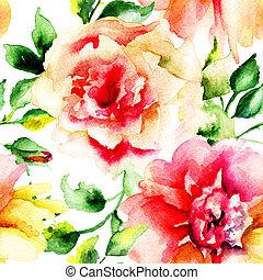 花, 絵, 水彩画, バラ
