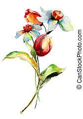 花, 絵, 水彩画
