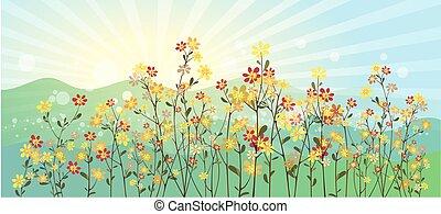 花, 緑の採草地