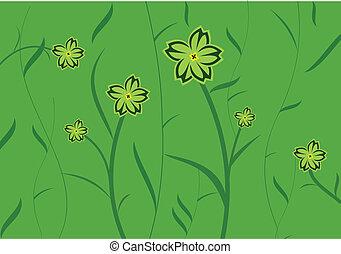 花, 緑の背景, 招待, カード, デザイン, ∥あるいは∥