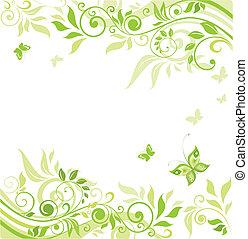 花, 緑, ボーダー