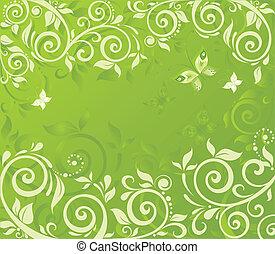 花, 緑, レトロ, カード
