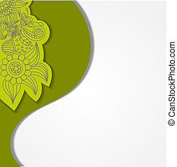 花, 緑, eps10, 背景, elements.