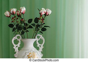 花, 绿色的背景, 瓶