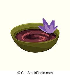 花, 美しさ, 紫色, 窯業製品マスク, チョコレート, treatment., ベクトル, デザイン, 化粧品, ...