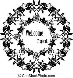 花, 群集, wellcome, フレーム, 挨拶, イラスト, トロピカル, ベクトル, カード