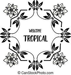 花, 群集, wellcome, フレーム, 装飾, イラスト, トロピカル, ベクトル, カード