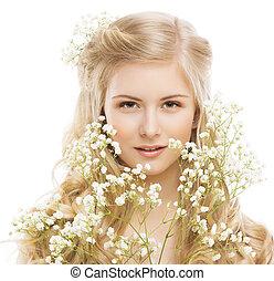 花, 肖像画, 美しさ, 若い, 毛, 女, ブロンド, 女の子