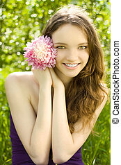 花, 背景, 緑, ティーネージャー, かわいい少女