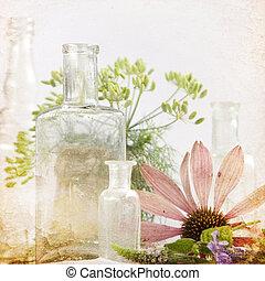 花, 背景, 草藥