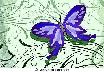 花, 背景, butterfly.