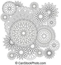 花, 背景, mandalas