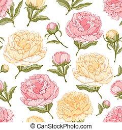 花, 背景, seamless, 牡丹