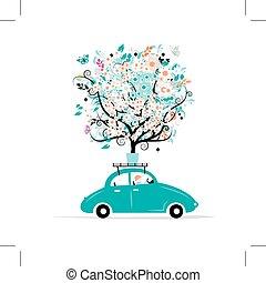 花, 自動車, 木, 屋根
