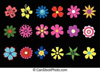 花, 色彩丰富, 矢量, 春天