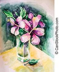 花, 花束, つぼ, ガラス