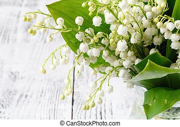 花, 花束, 春, 木製である, 新たに, テーブル, 谷, ユリ
