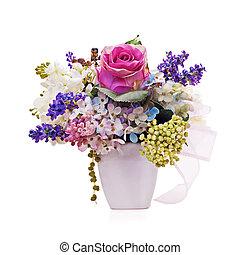 花, 花束, 隔離された, 人工, 整理, センターピース, バックグラウンド。, 白, つぼ, closeup.