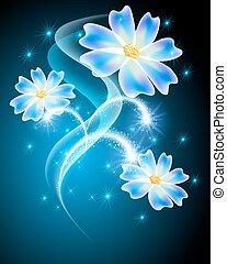 花, 花火, ネオン, 星