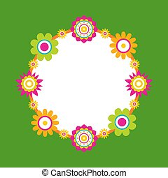 花, 花, 框架, 輪, 矢量, 做, 摘要
