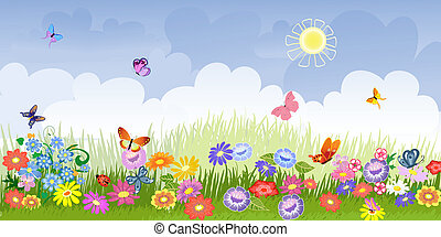 花, 草地, 全景