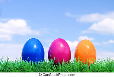 花, 草地, 蛋, 天空, 01, 復活節