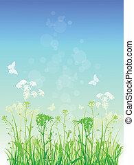 花, 草, 緑の背景