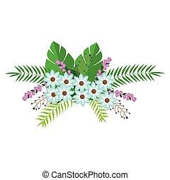 花, 葉, 花, デザイン, 束