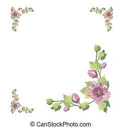 花, 葉, 花, 紫色, 型, ピンク, テンプレート, vector., frame., フレーム, 広場, style., editable, 招待, 結婚式, 背景, デザイン, カード