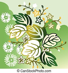 花, 葉, 花, 緑の背景