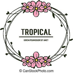 花, 葉, frame., トロピカル, 形, ベクトル, ラウンド