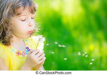 花, 蒲公英, 在户外, 吹, 孩子, 开心