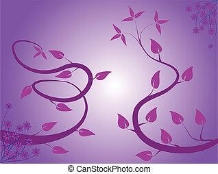 花, 藤色, 抽象的, 背景
