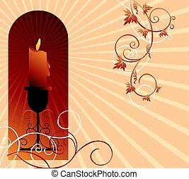 花, 蝋燭, 背景