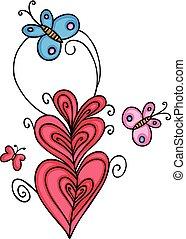 花, 蝶, デザイン