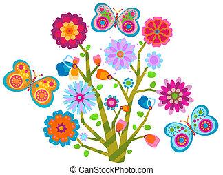 花, 蝶, 木