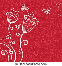 花, 蝶, 背景