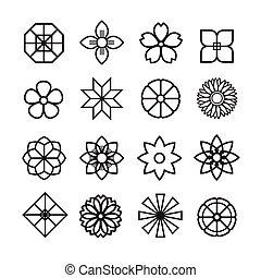 花, 装飾, アイコン, セット