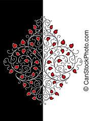 花, 装飾, レトロ, (vector)
