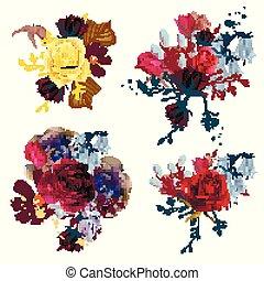 花, 詳しい, コレクション, ベクトル, デザイン