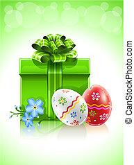 花, 贈り物, ペイントされた, 卵, 弓, イースター