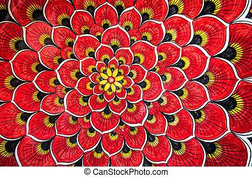 花, 赤い背景