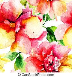 花, 赤, 絵, 水彩画