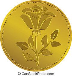 花, 金, お金, イギリス, ベクトル, バラ, コイン