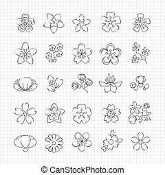 花, 鉛筆, 花, 図画